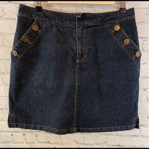 Liz Claiborne Denim Skirt with Star Buttons Sz 6